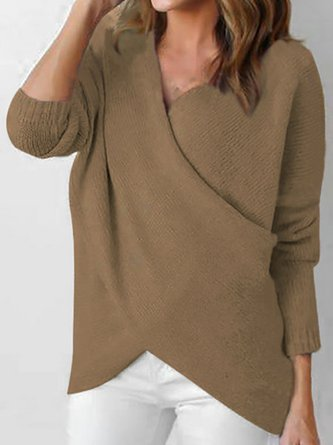 V Neck Solid Long Sleeve Knitted Casual  Sweaters