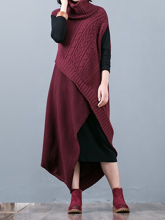 Turtleneck Shift Casual Knitted Dress With Cami Two-Piece Set
