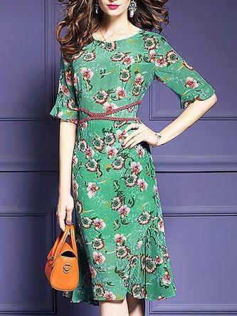 Multicolor Beach Short Sleeve Holiday Printed Floral Midi Dress