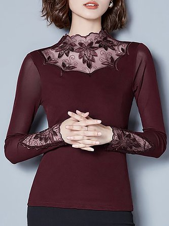 Solid Long Sleeve Elegant Embroidered Top