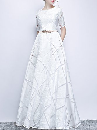 0a9a947ceead White A-Line Evening Formal Maxi Dress