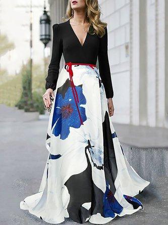 V Neck Black Evening Floral Maxi Dress