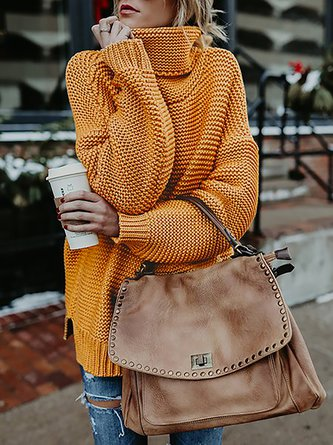 Knitted Casual Shift  Long Sleeve Turtleneck Sweater