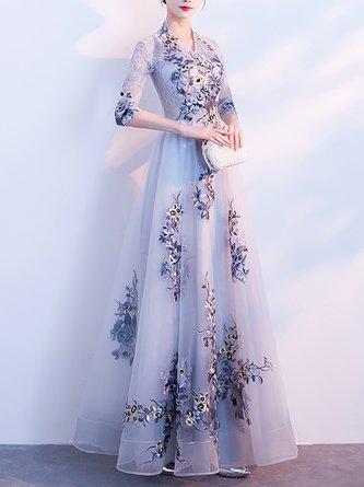 aef4eb63e45f Elegant Evening V Neck A-Line Wedding Floral Mesh Maxi Dress
