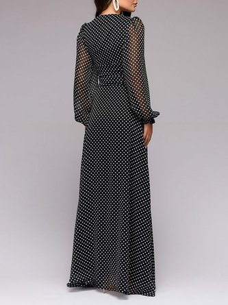 V Neck Chiffon Polka Dots Maxi Dress