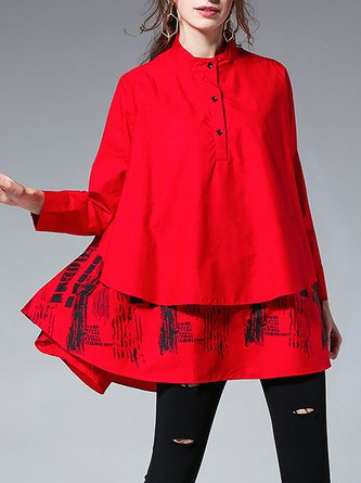 Stand Collar A-Line High Low Graphic Casual Tunic