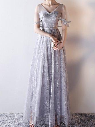 Light Gray V Neck A-Line Guipure Lace Evening Maxi Dress