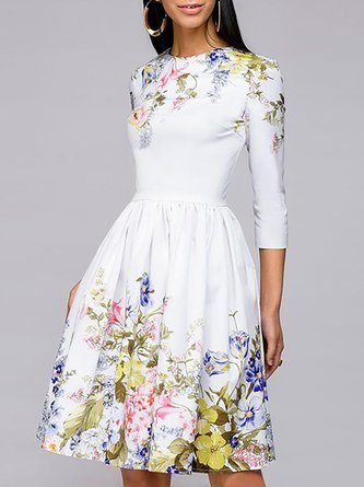 17b2bbc80fd White A-Line 3 4 Sleeve Floral Printed Cocktail Midi Dress