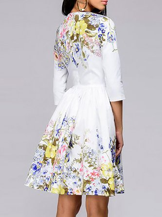 80f90bcd201 White A-Line 3 4 Sleeve Floral Printed Cocktail Midi Dress
