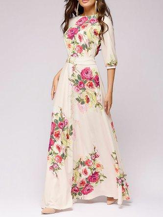 Floral Beige Daily Elegant Crew Neck Holiday Bandage Maxi Dress