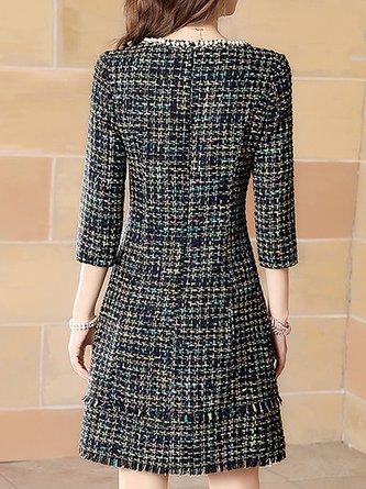 063fe3e34a9 Black A-Line Fringed Pockets Checkered plaid Crew Neck Midi Dress