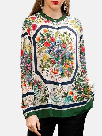 Multicolor Long Sleeve Elegant Crew Neck Floral Boho Blouse