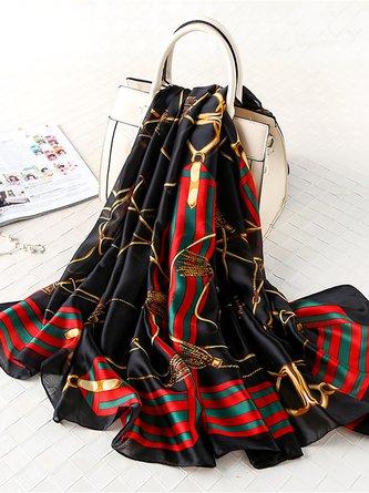 Silk-Blend Geometric Party Fashion Scarves