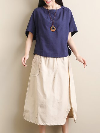 fc42b78810 Vintage Buttoned Slit Pockets Linen Top With Skirt Two-Piece Set. Quick Shop