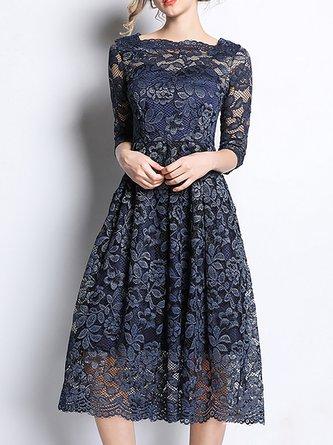 6abf03bcec Dark Blue Square Neck A-Line Guipure Lace See-Through Look Midi Dress