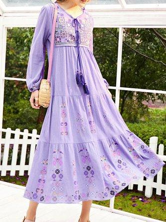 Boho Shift Embroidered Floral Shift  Holiday Midi Dress
