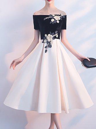 309ba93c2247 Off Shoulder A-Line Appliqued Elegant Paneled Party Midi Dress