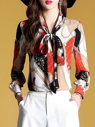 Elegant Tie-Neck Multicolor Chiffon Elegant Blouse