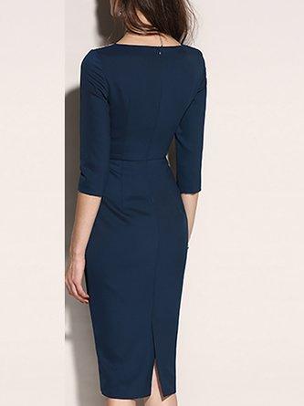 3/4 Sleeve Shift Slit Zipper Paneled Solid Midi Dress