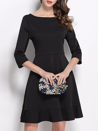7270c67c63 Bateau boat Neck Black A-Line 3 4 Sleeve Date Midi Dress