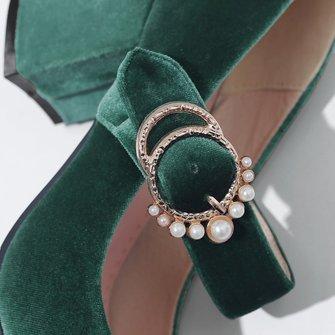 Elegant Imitation Pearls Spring/fall Daily Suede Heels