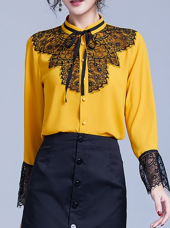Bell Sleeve Tie-Neck Guipure Lace Paneled Blouse