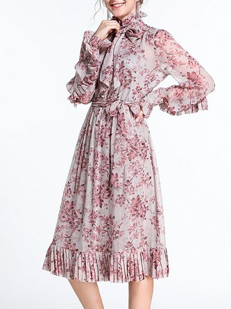 Tie-Neck Pink  Frill Sleeve Boho Beach Sweet Midi Dress