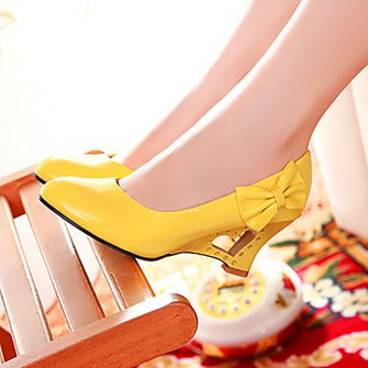 Casual Round Toe Wedge Heel Bowknot Heels