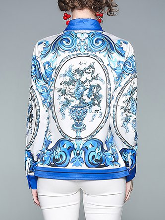 Blue Vintage Printed Buttoned Color-Block Blouse