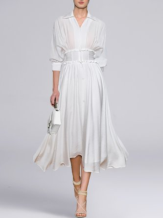 Shirt Collar White Balloon Sleeve A-Line Date  Midi Dress