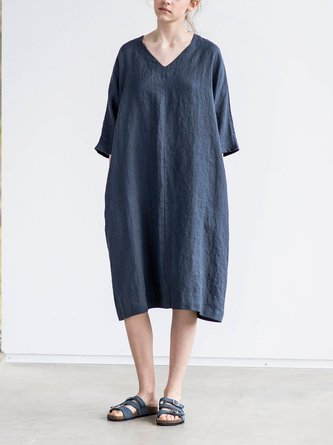 Washed Oversize V Neckline Loose Cozy Dress