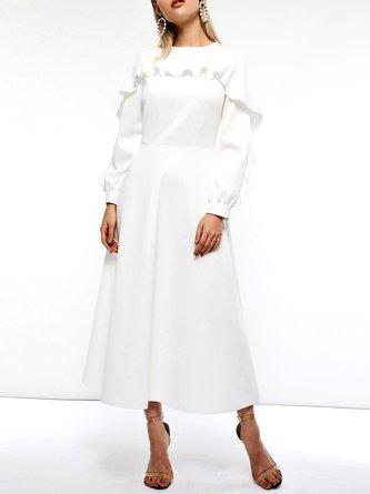 A-Line Daytime Ruffled Solid Midi Dress