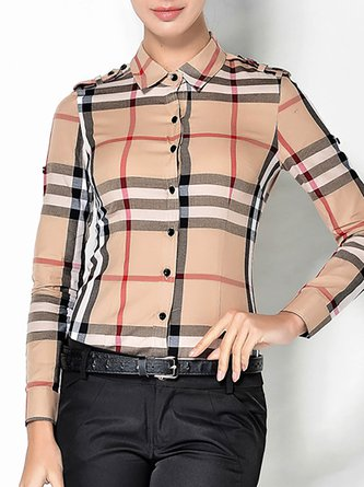 Work Shirt Collar Casual Checkered/plaid Bodysuit