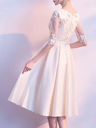 Champagne A-Line Elegant Floral-Embroidered Midi Dress