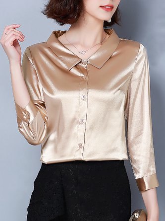 Shirt Collar Solid 3/4 Sleeve Work Blouse