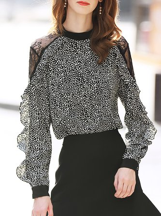 Guipure Lace Color-Block Polka Dots Frill Sleeve Blouse