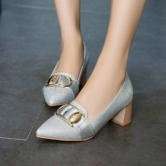 Party Sparkling Glitter Chunky Heel Shoes