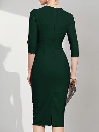 Square Neck Army Green Bodycon Party Elegant Solid Midi Dress