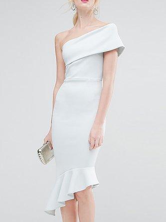 One Shoulder Mermaid Cocktail Elegant Midi Dress