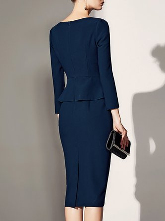 438ce6ed9b9 Blue Elegant Long Sleeve Bodycon Paneled Solid Midi Dress