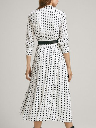 734d76413d2f Stand Collar White Polka Dots A-Line Daily Cotton Midi Dress