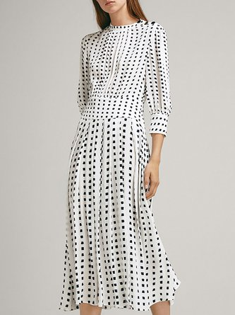 38d6a25ac42 Stand Collar White Polka Dots A-Line Daily Cotton Midi Dress