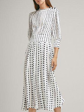 dd9532a9927 Stand Collar White Polka Dots A-Line Daily Cotton Midi Dress