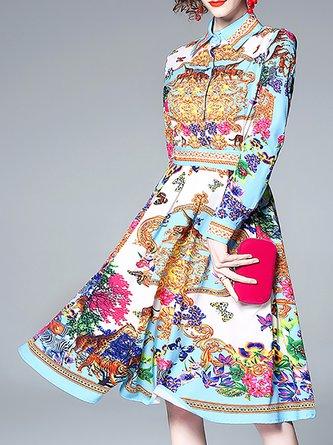 Shirt Collar Multicolor  A-Line Party Vintage Midi Dress
