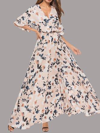 Apricot A-Line Daytime Chiffon Floral Maxi Dress