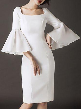 Square Neck White Bodycon Elegant Party Paneled Midi Dress