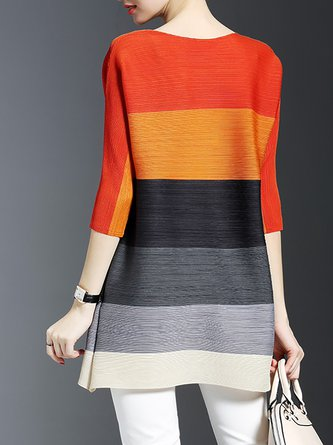 Crew Neck A-Line Date Color-Block Solid Tunic