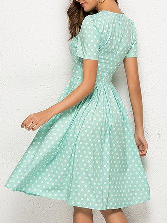 Green A-Line Daily Polka Dots Midi Dress