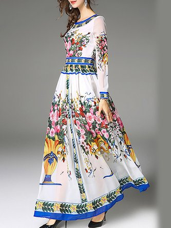 White Elegant Long Sleeve A-Line Party Floral Maxi Dress
