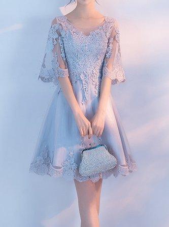 Evening Elegant Guipure Lace A-Line Party Mini Dress